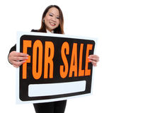 Asian Woman Holding Sale Sign royalty free stock photo