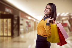 Asian woman holding shopping bag Stock Images