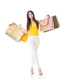 Asian woman holding shopping bags Royalty Free Stock Images