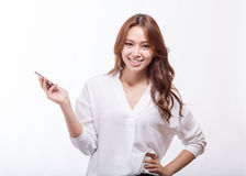Asian woman holding a smart phone stock images