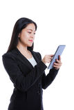 Asian woman holding tablet computer isolated on white background Stock Photo
