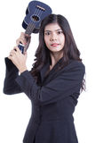 Asian woman holding ukulele. stock image