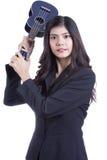 Asian woman holding ukulele. Stock Image