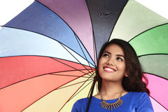 Asian Woman Holding Umbrella Royalty Free Stock Image