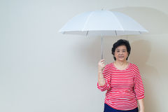 Asian woman holding umbrella in studio shot, specialty tones Stock Photography