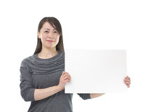 Asian woman holding white board Stock Photos