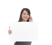 Asian woman holding white board Royalty Free Stock Photo