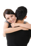 Asian woman hug her boyfrien Royalty Free Stock Photography