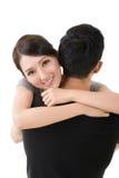 Asian woman hug her boyfrien Royalty Free Stock Photography