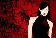 Asian woman illustration. Illustration of an Asian woman on a red background stock illustration