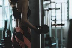 Asian Woman In Fitness Dress Holding Dumb Bell In Fitness Gym Royalty Free Stock Image