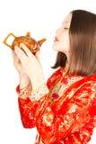 Asian Woman In Kimono Drinking Chinese Tea Royalty Free Stock Photography