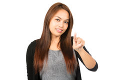 Asian Woman Index Finger Pointing At Camera Royalty Free Stock Photos