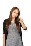 Asian Woman Index Finger Pressing At Camera Stock Photos