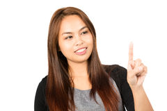 Asian Woman Index Finger Pressing Looking Away H Royalty Free Stock Photo