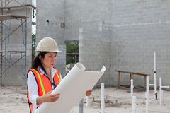 Asian Woman Inspector on construction site Royalty Free Stock Photos