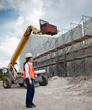 Asian Woman Inspector on construction site Stock Photo