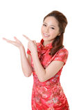 Asian woman introduce Stock Image