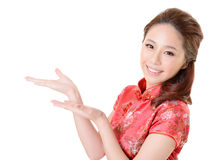 Asian woman introduce Stock Photo