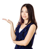 Asian woman introduce something Royalty Free Stock Image