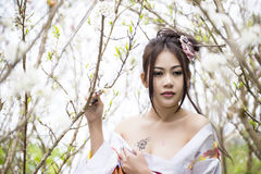 Asian woman with japanese kimono Royalty Free Stock Images