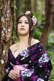 Asian woman with japanese kimono Royalty Free Stock Image
