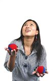 Asian woman and juggling balls 2 Stock Photos