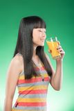 Asian woman and juice Stock Image