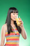 Asian woman and juice Stock Photos