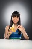 Asian woman and juice Royalty Free Stock Photos