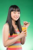 Asian woman and juice Royalty Free Stock Photography