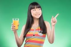 Asian woman and juice Stock Photos
