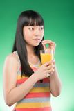Asian woman and juice Royalty Free Stock Photo