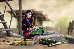Asian woman Laos in traditional clothes, Hmong Royalty Free Stock Image