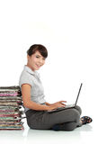 Asian woman with laptop Stock Images
