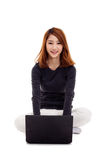 Asian woman with laptop Royalty Free Stock Images