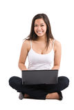 Asian woman laptop Royalty Free Stock Photography