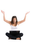 Asian woman laptop. An isolated shot of a happy beautiful asian woman working on her laptop Stock Photo