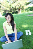 Asian Woman on Laptop Computer Stock Photos