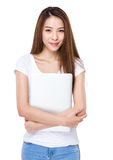 Asian woman with laptop computer Stock Photo