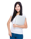 Asian woman with laptop computer Royalty Free Stock Photo