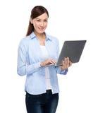 Asian Woman with laptop Stock Photos