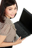 Asian woman with laptop Royalty Free Stock Photos