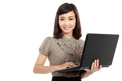 Asian woman with laptop Royalty Free Stock Photo