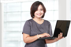 Asian woman with laptop Royalty Free Stock Image
