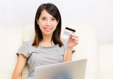 Asian woman with laptop Stock Photography