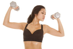 Asian woman lift look side Royalty Free Stock Photos