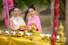 Asian woman like to make merit in thailand. Asian women like to make merit in thailand Royalty Free Stock Photo