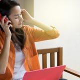 Asian woman  listen music Royalty Free Stock Photos