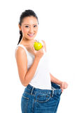 Asian woman losing weight Stock Photo